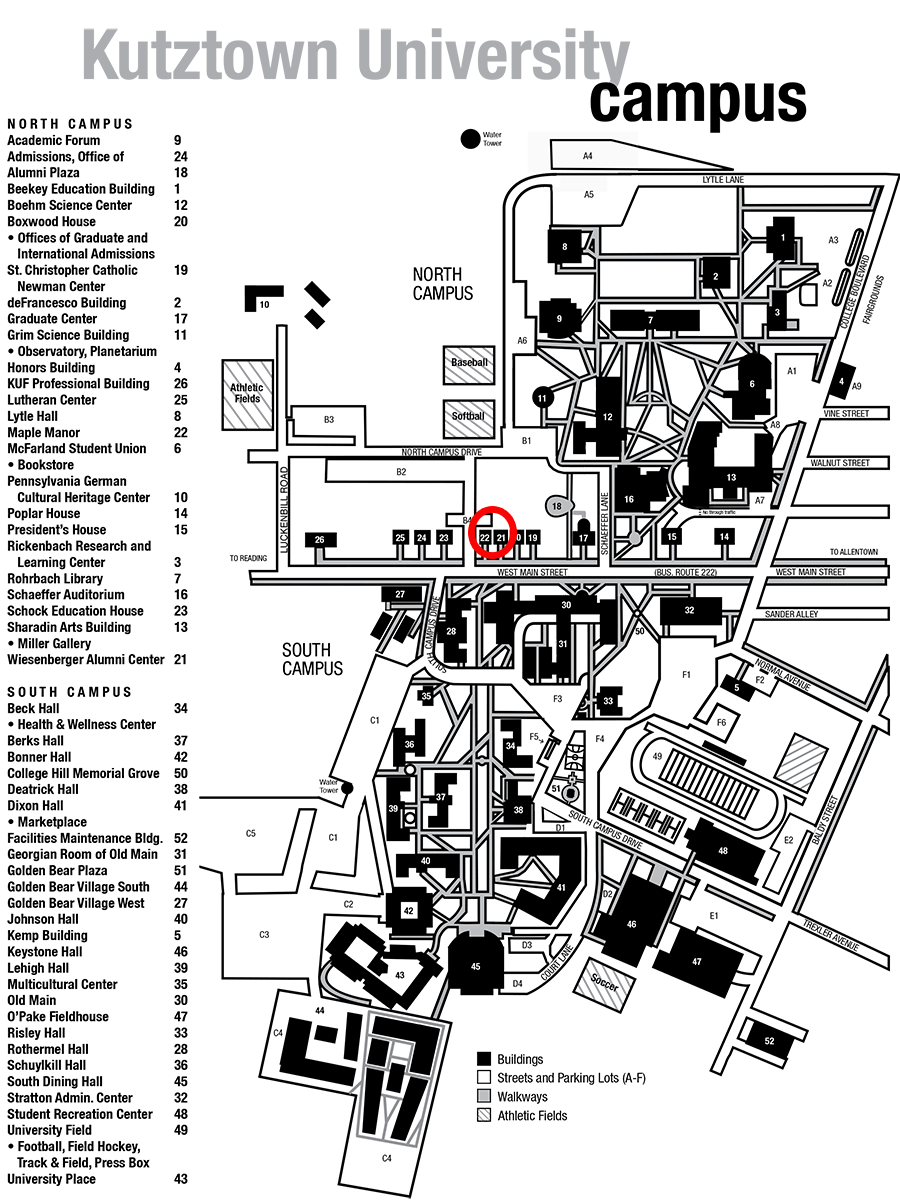 Kutztown University Campus Map