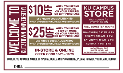 2017 Homecoming KU Campus Store Coupon